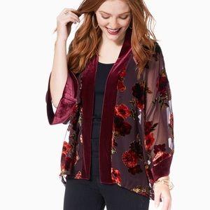 Velvet Burnout Floral Kimono Cardigan